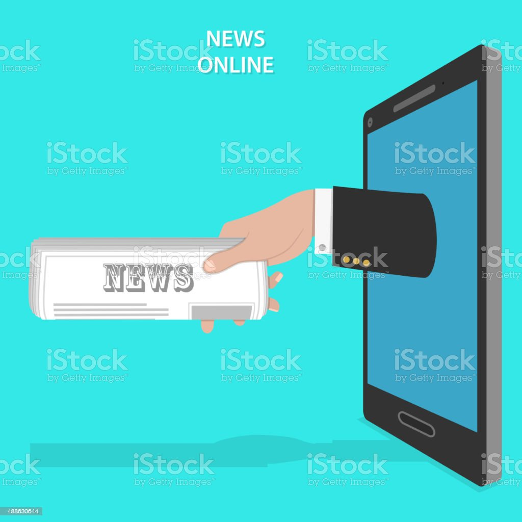 Online news service flat vector concept. vector art illustration