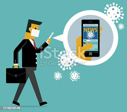 istock Online news - Virus - Businessman 1219319149