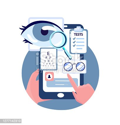 istock Online Ophthalmic Touchscreen Application.Optician's Shop.Eye Glasses Choose.Eye Vision Acuity,Snellen Chart.Near-sightedness,Farsightedness.Mobile Internet,Smartphone Consultation.Vector Illustration 1277142310