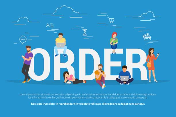 bildbanksillustrationer, clip art samt tecknat material och ikoner med beställning online begreppet vektorillustration av människor beställning och köp av varor - on demand