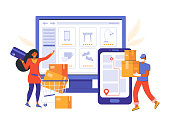 istock Online order in an online store and contactless delivery. Online shopping and e-commerce. Woman makes purchases on the site. Courier in a medical mask delivers the product using the Navigator app. 1223254597