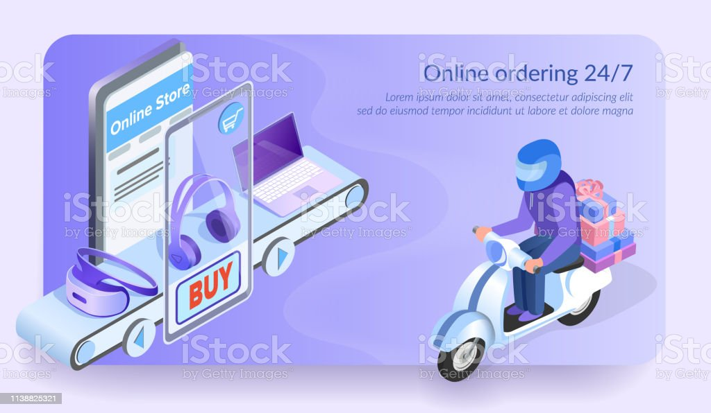 Online Ordering 247 Courier Of Electronic Store Stock