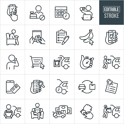 Online Ordering and Curbside Pickup Thin Line Icons - Editable Stroke
