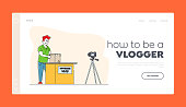 Online Parcel Unpacking Vlog Landing Page Template. Influencer Male Character Unboxing Purchase Recording Video for Internet, Vlogger Streaming, Product Video Online Review. Linear Vector Illustration