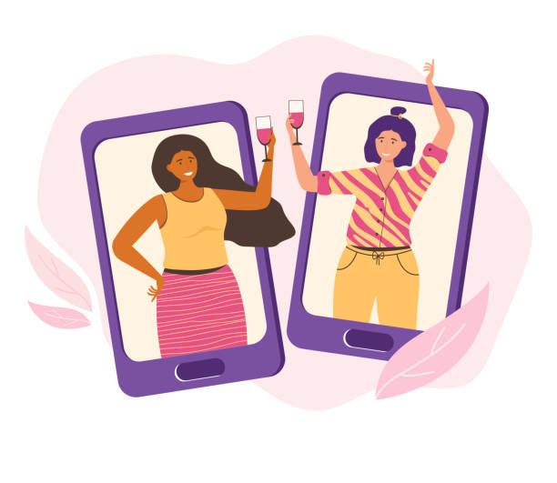 online-party, geburtstag, treffen mit freunden. kommunikation per video-chat über eine app auf ihrem smartphone. freundinnen haben spaß zu hause, trinken wein und reden über das internet. vektor flache illustration - smartphone mit corona app stock-grafiken, -clipart, -cartoons und -symbole