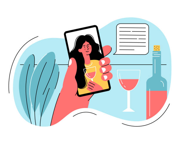 online-party, geburtstag, treffen mit freunden, videokonferenz. mädchen trinken gemeinsam wein in quarantäne. freizeitideen zur selbstisolierung in covid-2019. - smartphone mit corona app stock-grafiken, -clipart, -cartoons und -symbole