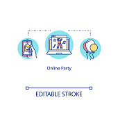 Online party concept icon. Video call with friends. Social distancing alternative. Quarantine communication idea thin line illustration. Vector isolated outline RGB color drawing. Editable stroke