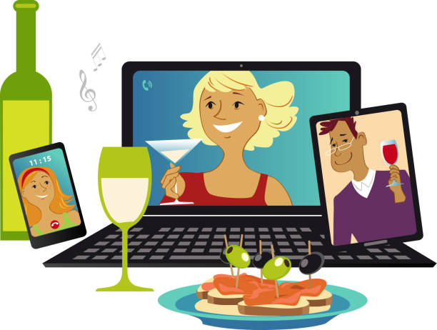 Online party during social distancing time Online party with friends communicating via video chat from different gadgets, EPS 8 vector illustration video call stock illustrations