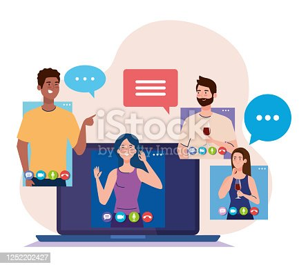 online party, meeting friends, people have online party together in quarantine, video conference, party web camera online holiday vector illustration design