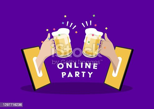 Online party. Two hands holding beer out of a mobile phone. Celebrate with friends at home with video call. Social Distancing concept.
