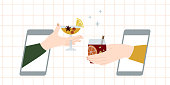 istock Online party, virtual meeting concept. Celebrate Christmas remotely, drink mulled wine through video chat. New 2021 year during quarantine. Video call during self isolation. Vector flat illustration 1286542251