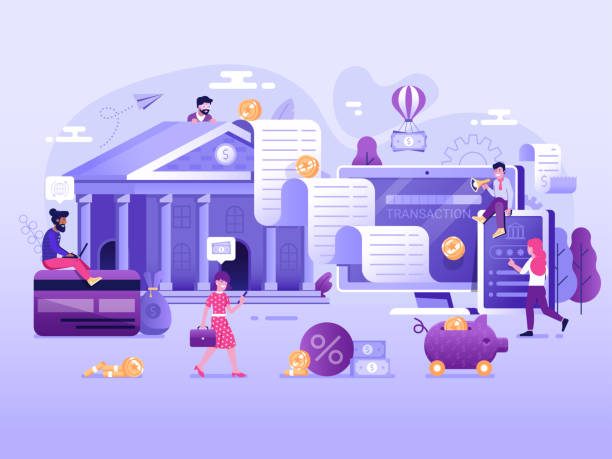 Online Payment and Digital Transaction Concept vector art illustration