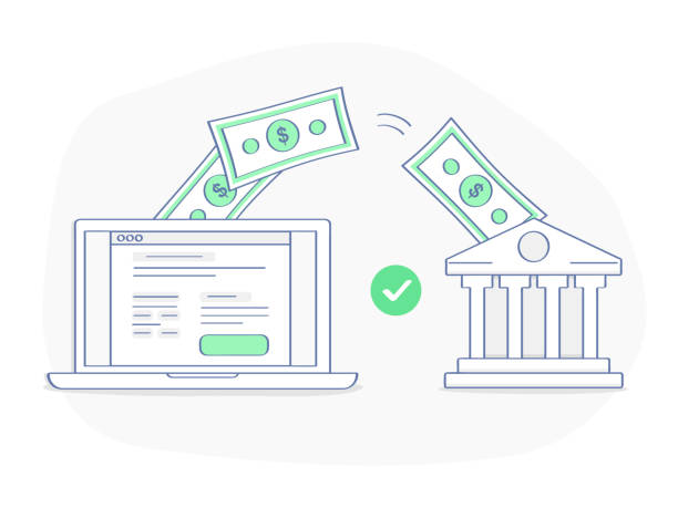 Online payment, banking or money transfer concept Online payment, banking or money transfer concept. After clicking the button on the site, money flies from the laptop directly to the bank. Flat outline vector element, premium quality illustration. transfer image stock illustrations