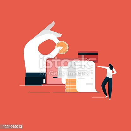 Online payment concept, Laptop with electronic invoice, financial transaction illustration, digital payment vector