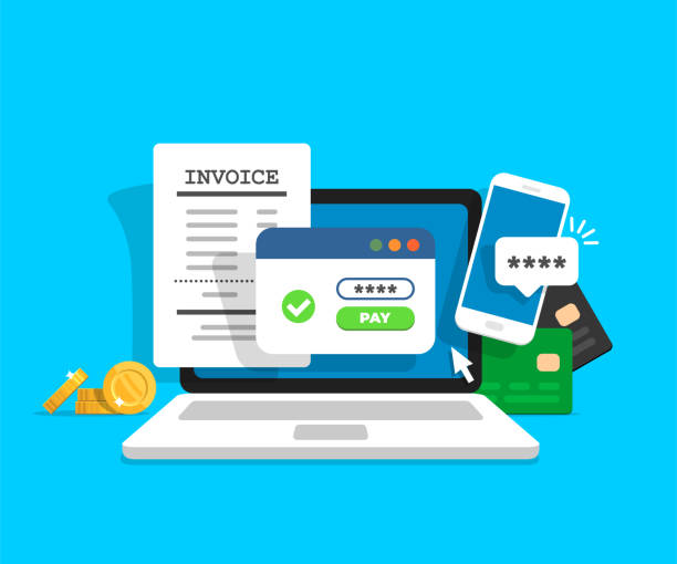 Online payment concept. Laptop with electronic invoice. Online payment concept. Laptop with electronic invoice. Financial transaction confirmation via SMS. Coins and card on background. Vector illustration in flat style. expense stock illustrations