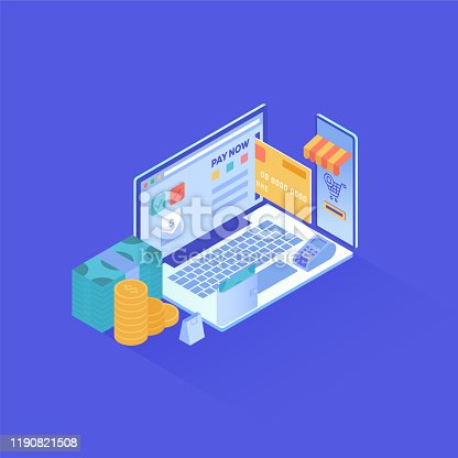 Online payment design in isometric vector illustration