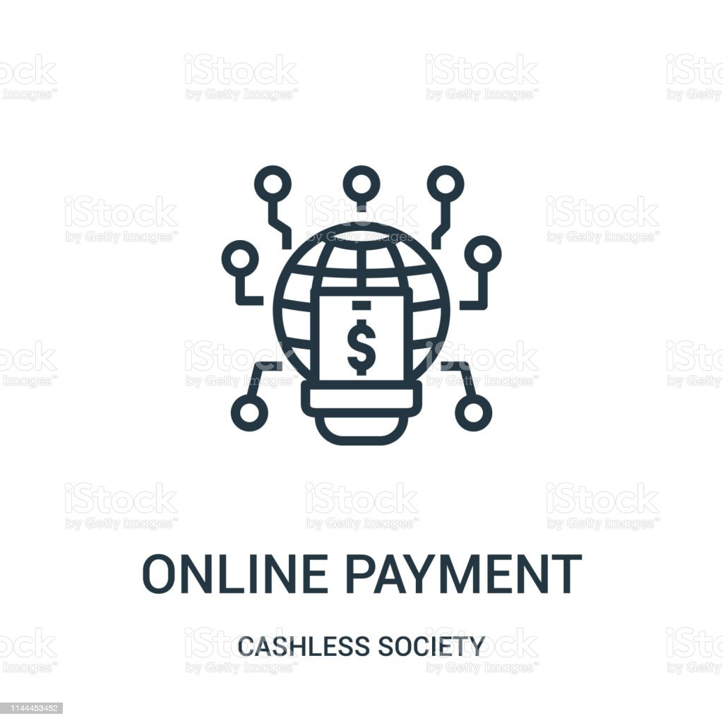 online payment icon vector from cashless society collection. Thin...