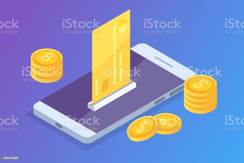 Onlinezahlung Isometrische Konzept Mit Geldeingang Mobile Geldbörse ...