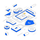 Online Payment modern isometric line illustration concept