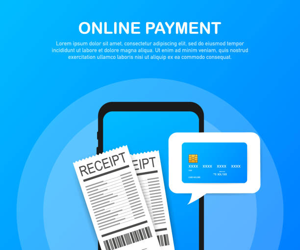 Online payment on computer. Financial accounting, electronic payment notification. Vector illustration. Online payment on computer. Financial accounting, electronic payment notification. Vector stock illustration. receipt stock illustrations