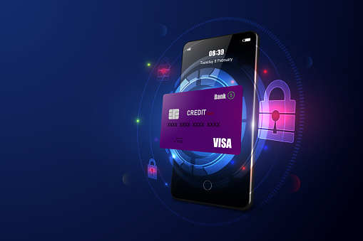 Online payment security transaction via credit card. smartphone. digital technology transfer pay.  Vector illustration