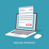 Online payment service. Document form on the laptop screen with a pay button.