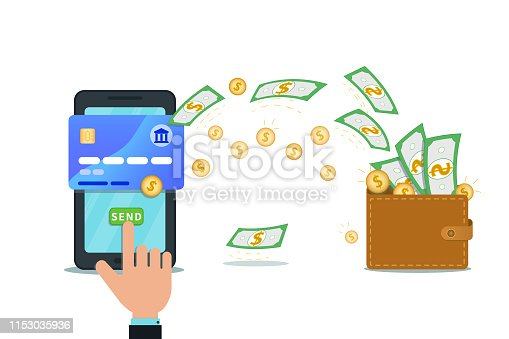 Online payment service. Fast money transfer design with flat smartphone and hand finger click send button. Mobile wallet app. Concept of financial operations, bank transactions, savings account