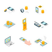 Online Payments Signs 3d Icons Set Isometric View. Vector