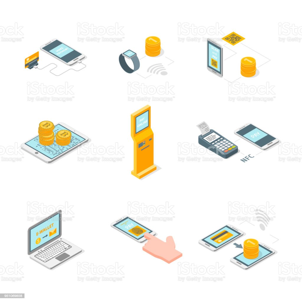 Paiements en ligne signe un Set isométriques d'icônes 3d View. Vector - Illustration vectorielle