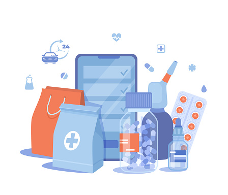 Online Pharmacy. Buy medicaments and drugs online. Pharmaceutical products in mobile application. Phone screen, medicine packages, pills, spray, drops. Vector illustration on white background.
