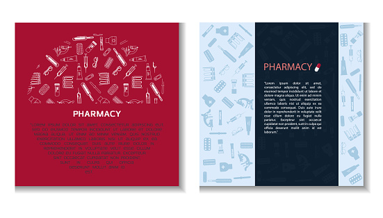 Online Pharmacy concept banner with text place. Flat vector medical banner for flyer or online. Graphics with images of medical instruments and devices.
