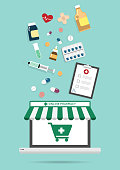 Online pharmacy concept with medical flat icon elements design.