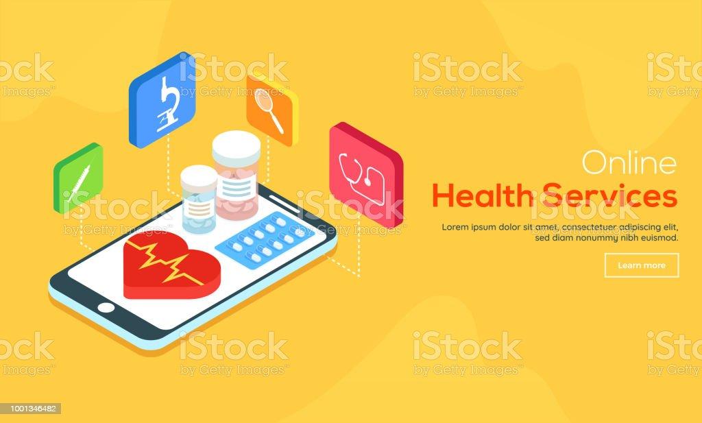 Online apotheek dienstverleningsconcept met illustratie van EHBO-kit en andere medische apparatuur voor Online Health Service website landing page.vectorkunst illustratie
