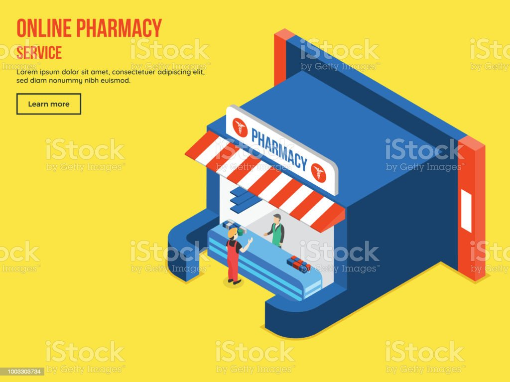 Ilustración de Servicio En Línea De Farmacia Con Vista Isométrica De ...