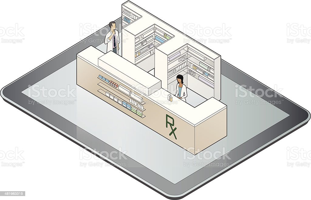 Online Pharmacy vector art illustration
