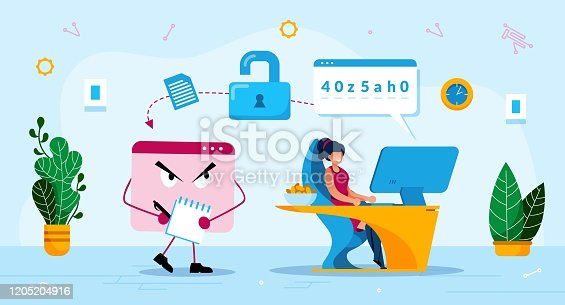 Online Phishing Trendy Flat Vector Concept. Malware Software, Trojan Stealing Password, Woman Using Computer, Losing Personal, Confidential Data or Information Because of Phishing Attack Illustration