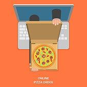 Online pizza order vector illustration.