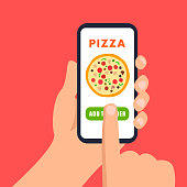 Online Pizza Ordering Flat Vector Illustration. Pizzeria Internet App for Smartphones. Finger Pointing on Mobile Phone Screen. Customer Choosing Pizza Flavour. Client Buying Pepperoni