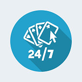Online poker gaming 24/7 - Vector web icon