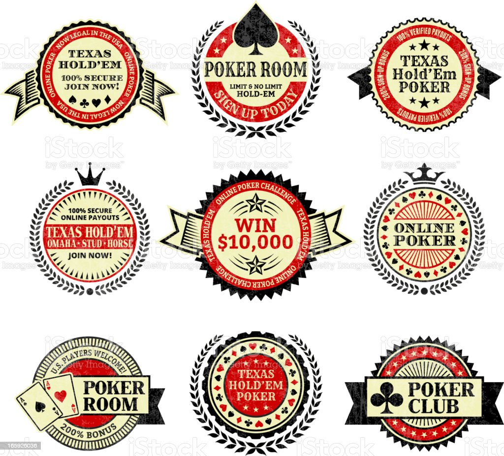 Online poker Texas Hold Em royalty free vector icon set royalty-free stock vector art