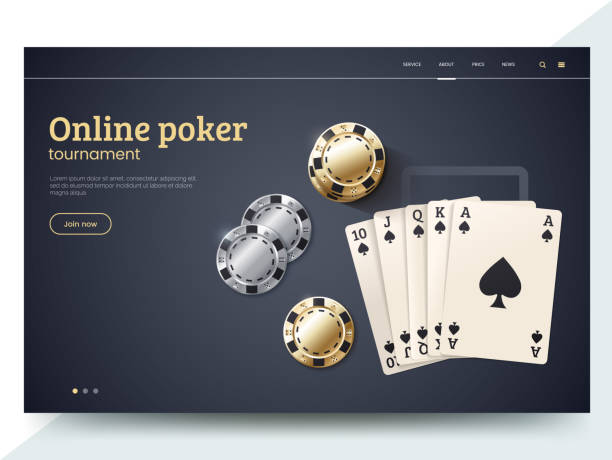 Online poker tournament landing page template. Playing cards with gold and silver chips. Vector illustration for internet casino. Modern web page interface design for gambling. Eps 10. Online poker tournament landing page template. Playing cards with gold and silver chips. Vector illustration for internet casino. Modern web page interface design for gambling. Eps 10. gambling chip stock illustrations