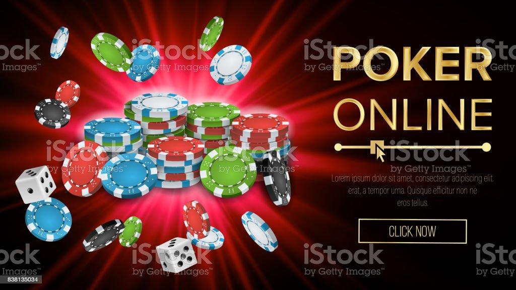 Online Poker Vector. Gambling Casino Banner Sign. Explosion Chips, Playing Dice. Jackpot Casino Billboard, Signage, Marketing Luxury Banner, Poster Illustration vector art illustration