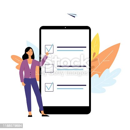 istock Online poll checklist on cartoon tablet with woman pointing at choice form with check mark 1188579884