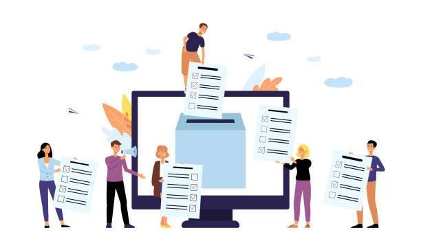 ilustraciones, imágenes clip art, dibujos animados e iconos de stock de concepto de sondeo o encuesta en línea con ilustraciones vectoriales planas de personas aisladas. - polling place