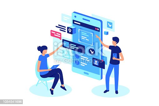 Online product presentation with project team. Concept web, mobile application, internet, modern technology. Low poly. 3d vector isometric illustration.