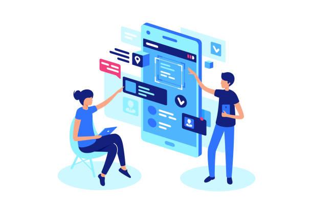 illustrations, cliparts, dessins animés et icônes de présentation du produit en ligne avec l'équipe du projet. - création numérique