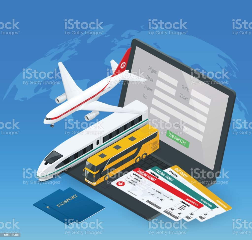 Online purchase or booking of tickets for an airplane, bus or train. Travel around the world and countries. Recreation and entertainment. Business trip. Vector isometric illustration vector art illustration