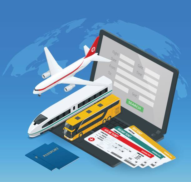 online purchase or booking of tickets for an airplane, bus or train. travel around the world and countries. recreation and entertainment. business trip. vector isometric illustration - business travel stock illustrations, clip art, cartoons, & icons