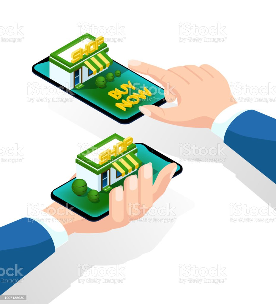 Online Purchase Via Smartphone Hand With A Smartphone Isometric 3d