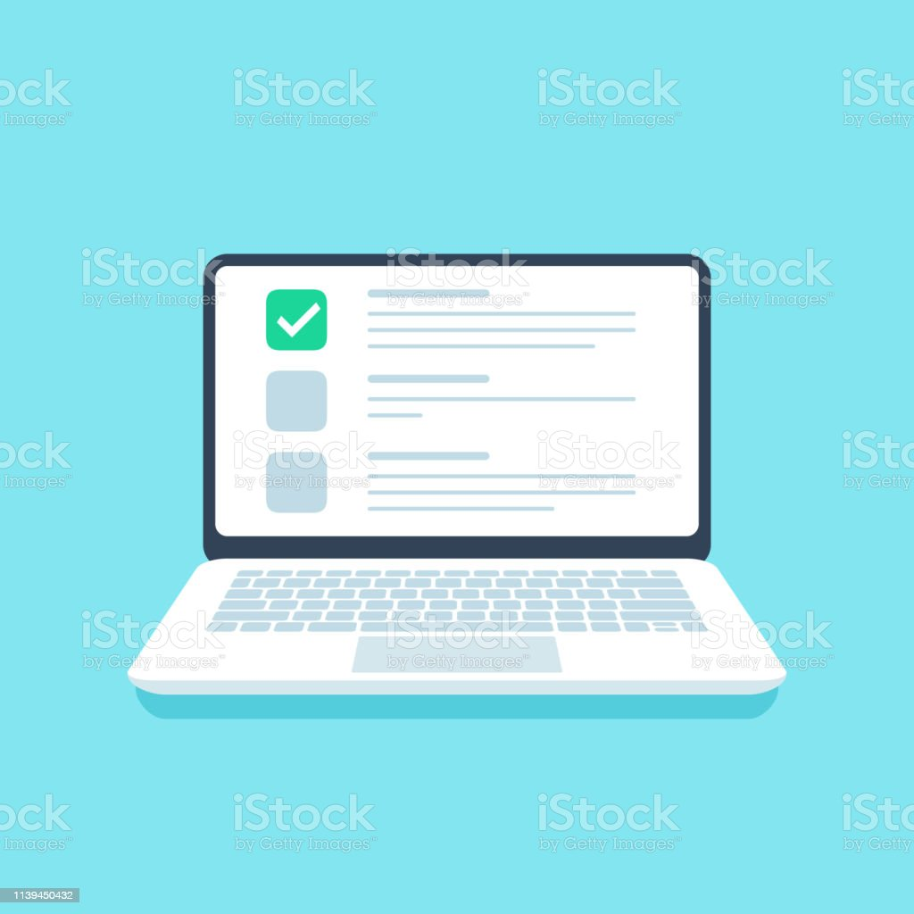 Online quiz checklist. Web exam, options choice on laptop screen and...